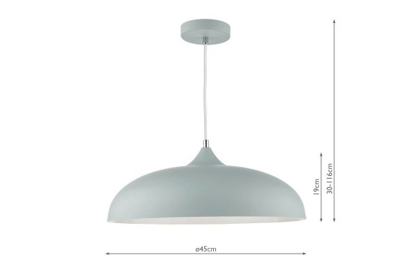 Avira Soft Matt Grey 1 Light Pendant Dimensions