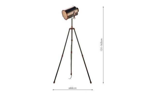 Beacon Antique Silver And Copper Floor Lamp Measurements