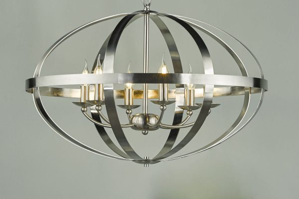Ciana Satin Chrome 6 Light Pendant Lifestyle