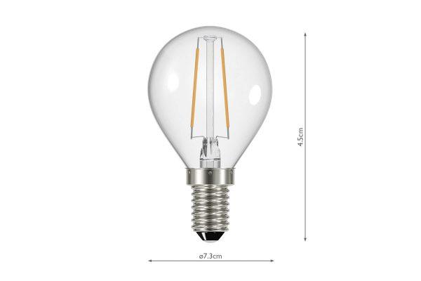 E14 Warm White 400LM Golfball - Dimensions
