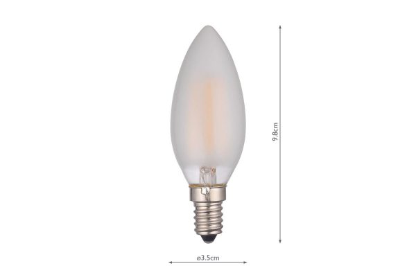 E14 Warm White 450LM Frosted Candle - Dimensions