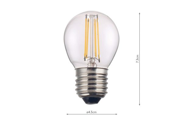 E27 Warm White 400LM Golfball - Dimensions