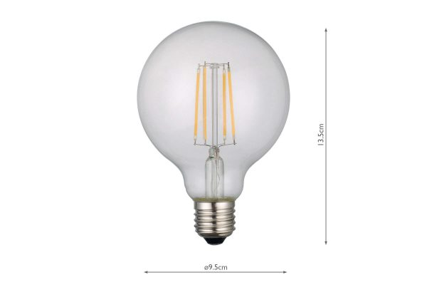 E27 Warm White 806LM Globe - Dimensions