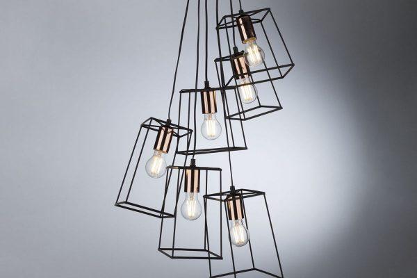 Eleanor Black & Copper 6 Light Cluster Pendant Lifestyle