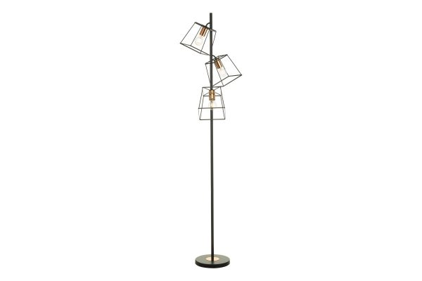 Eleanor Matte Black & Copper 3 Light Floor Lamp 2