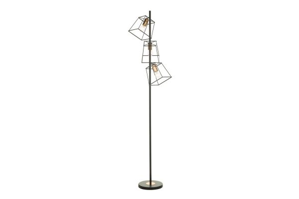 Eleanor Matte Black & Copper 3 Light Floor Lamp 3
