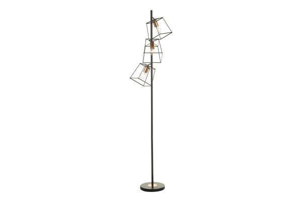 Eleanor Matte Black & Copper 3 Light Floor Lamp