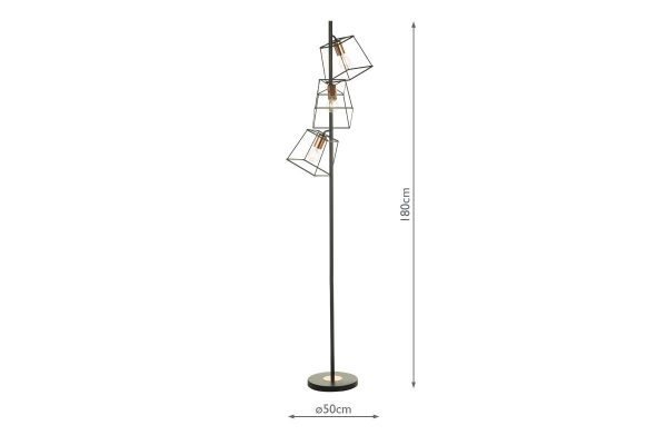 Eleanor Matte Black & Copper 3 Light Floor Lamp Dimensions
