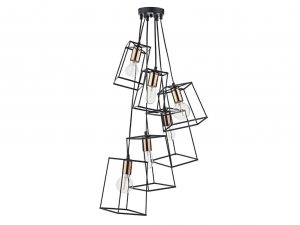 Eleanor Matte Black & Copper 6 Light Cluster Pendant