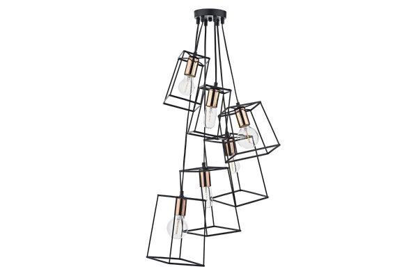 Eleanor Matte Black & Copper 6 Light Cluster Pendant