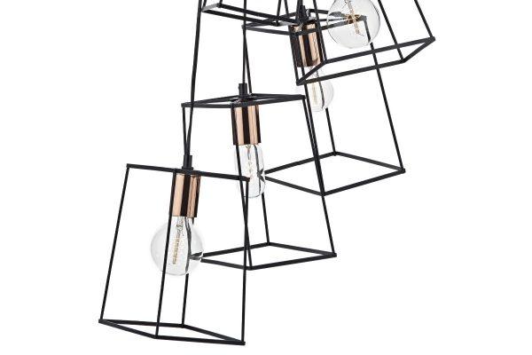Eleanor Matte Black & Copper 6 Light Cluster Pendant Detail