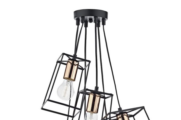 Eleanor Matte Black & Copper 6 Light Cluster Pendant Suspension