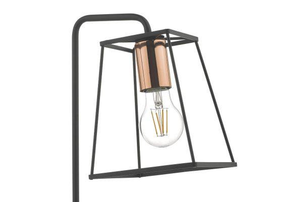 Eleanor Matte Black & Copper Table Lamp Detail
