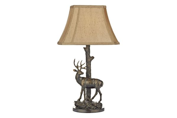 Elior Deer Table Lamp in Aged Brass with Shade