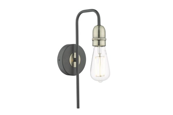 Faro Black & Antique Brass 1 Light wall Light