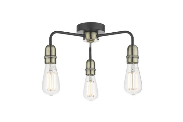 Faro Black & Antique Brass 3 Light Flush Fitting