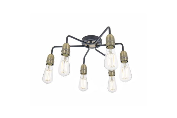 Faro Black & Antique Brass 6 Light Flush Fitting 2