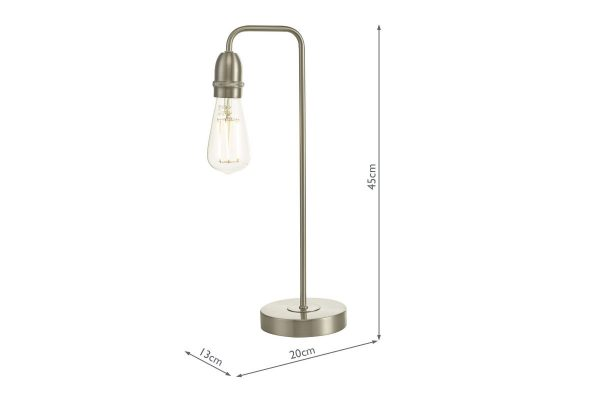 Faro Satin Chrome Table Lamp with Measurements