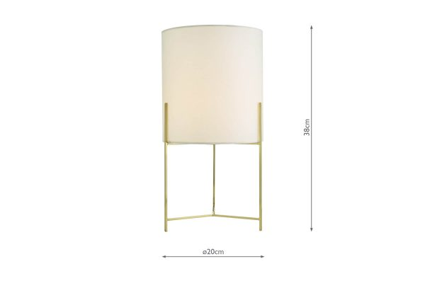 Fynn Satin Gold Table Lamp with Shade Dimensions