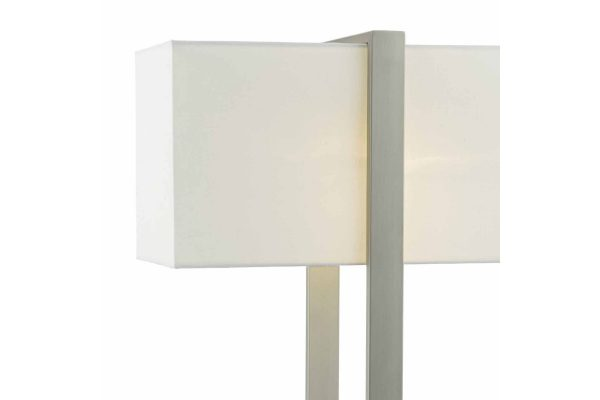 Harbin Antique Nickel Table Lamp with Ivory Cotton Shade Detail