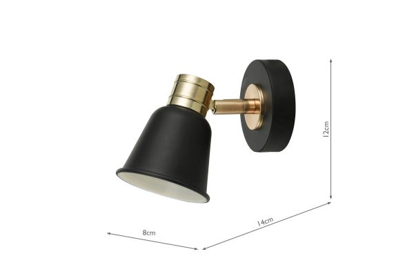 Ilka Black & Rose Gold 1 Light Wall Spot Measurements