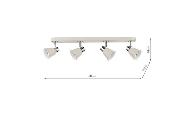 Ilka Cream 4 Light Bar Spot Measurements
