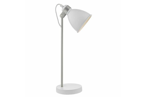Kiran White & Satin Chome Task Lamp