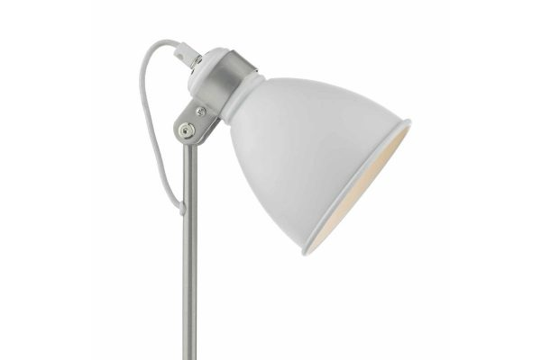 Kiran White & Satin Chome Task Lamp Detail