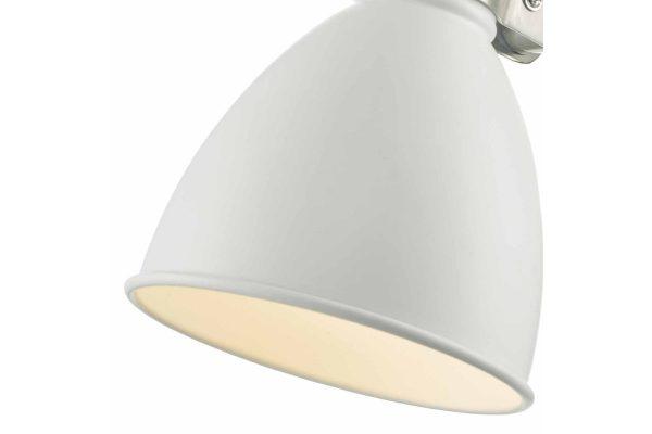 Kiran White & Satin Chrome Wall Light Closeup