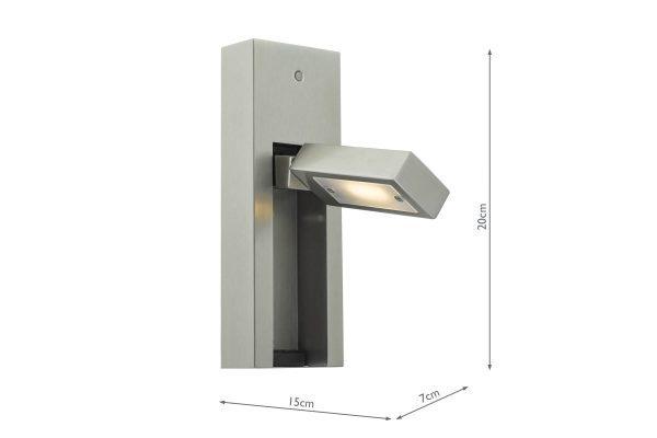 Luca Satin Chrome LED Wall Light Measurements