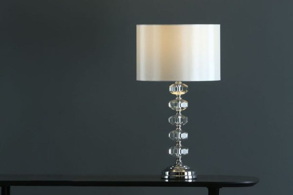 Nera Polished Chrome Crystal Table Lamp with Shade Lifestyle