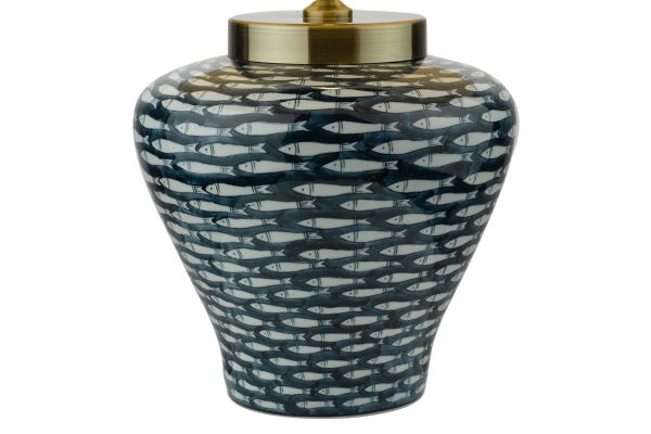 Nuri Blue White Fish Motif Porcelain Table Lamp