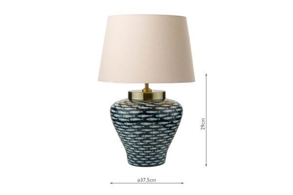 Nuri Blue White Fish Motif Porcelain Table Lamp with measurements