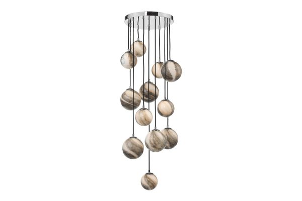 Oralee Polished Chrome & Glass 12 Light 1.5m Cluster Pendant