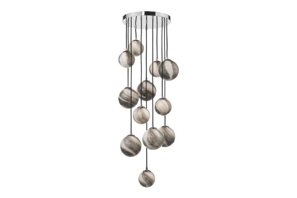Oralee Polished Chrome & Glass 12 Light 1.5m Cluster Pendant Off