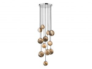 Oralee Polished Chrome & Glass 12 Light 2.5m Cluster Pendant