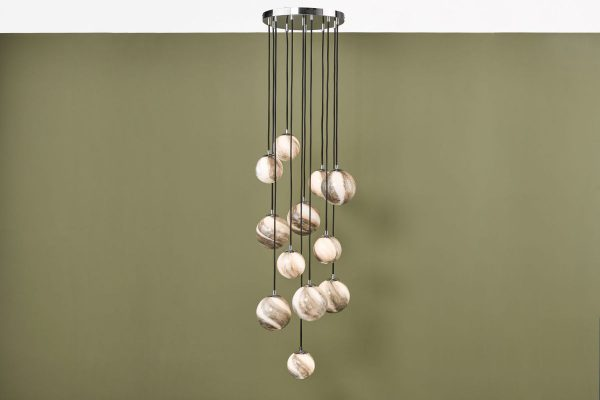 Oralee Polished Chrome & Glass 12 Light 2.5m Cluster Pendant Lifestyle