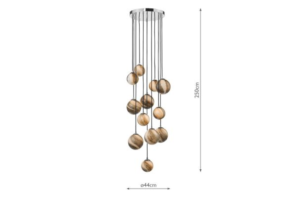 Oralee Polished Chrome & Glass 12 Light 2.5m Cluster Pendant Measurements
