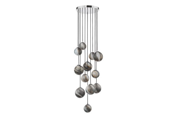 Oralee Polished Chrome & Glass 12 Light 2.5m Cluster Pendant Off