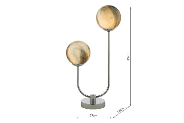 Oralee Polished Chrome & Glass 2 light Table Lamp Dimensions