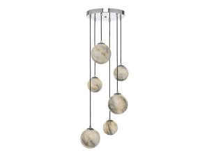 Oralee Polished Chrome & Glass 6 Light Cluster Pendant