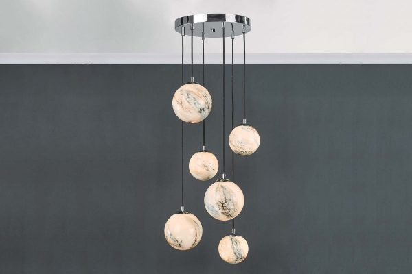 Oralee Polished Chrome & Glass 6 Light Cluster Pendant Lifestyle