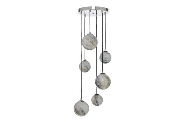 Oralee Polished Chrome & Glass 6 Light Cluster Pendant Off