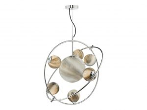 Oralee Polished Chrome & Glass 7 Light Pendant