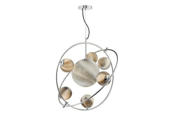 Oralee Polished Chrome & Glass 7 Light Pendant