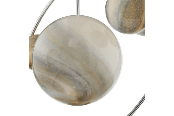 Oralee Polished Chrome & Glass 7 Light Pendant Detail