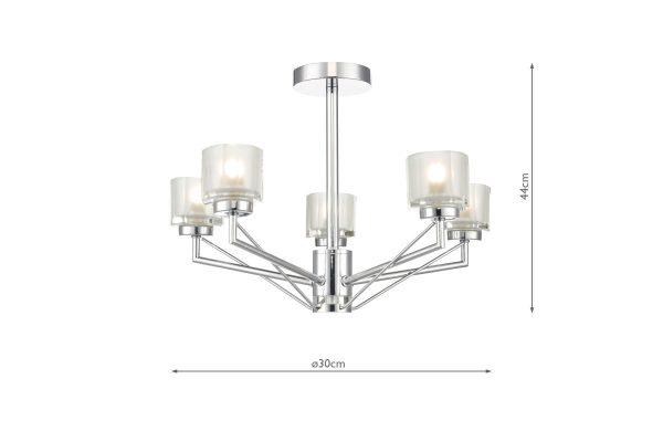 Raiden Polished Chrome 5 Light Semi Flush Fitting Measurements