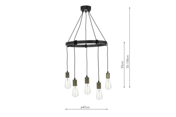 Senna 5 Light Pendant Rustic Pendant Measurements