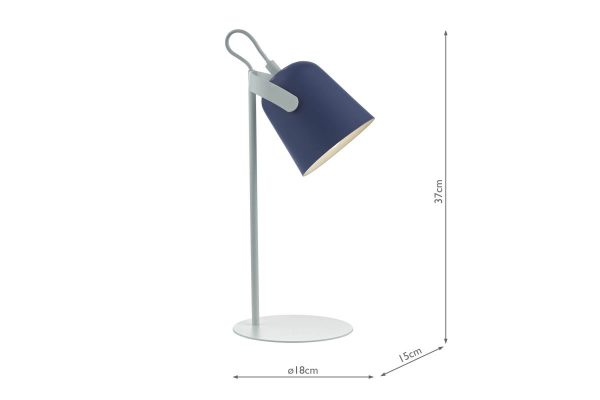 Uri Blue & White Task Lamp Dimensions