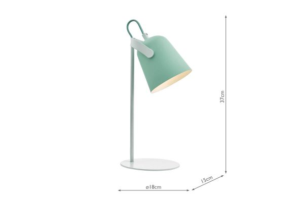 Uri Pale Green & White Task Lamp Dimensions